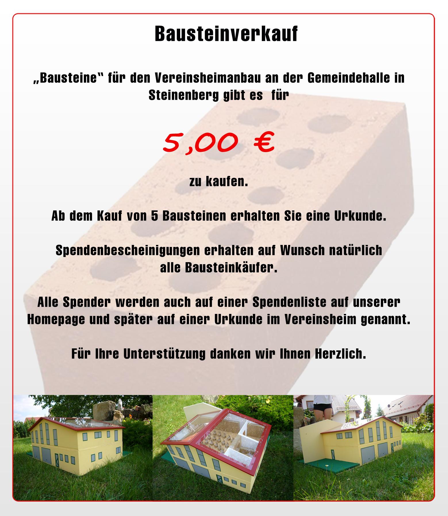 Bausteinverkauf fürs Vereinsheim MV Steinenberg