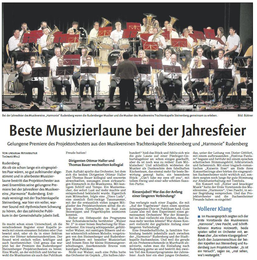 Zeitungsbericht zum Konzert mit dem MV Rudersberg - Musikverein ...